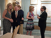 DEBORAH NORVILLE; WILLIAM RAYNER; KATHARINE RAYNER; BOB COLACELLO, An exhibition of watercolours by William Rayner at Mallet's, New Bond St. Party afterwards at Bellami's, bruton Place. London. 16 June 2010. .-DO NOT ARCHIVE-© Copyright Photograph by Dafydd Jones. 248 Clapham Rd. London SW9 0PZ. Tel 0207 820 0771. www.dafjones.com.