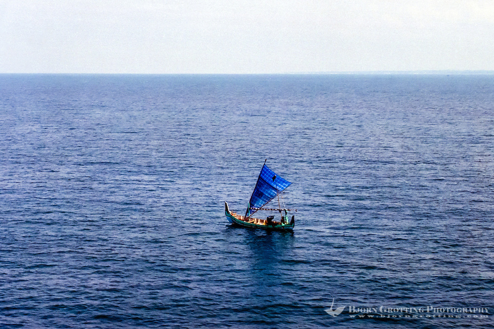 Java, East Java, Madura. Fishing from a traditional boath outside the southern coast of Madura (from helicopter).