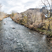 A view of Clear Creek running through the center of Golden, Colorado, just outside Denver at the eastern edge of the Rocky Mountains.