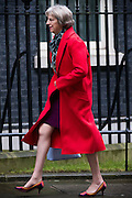 UNITED KINGDOM, London: 1 March 2016. Home Secretary Theresa May arrives in Downing Street to attend Cabinet meeting in central London.  Pic by Andrew Cowie / Story Picture Agency