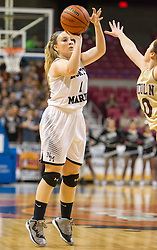 North Marion guard Presley Tuttle (1) makes a three pointer against Lincoln during a first round game at the Charleston Civic Center.