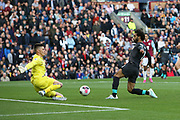 Burnley goalkeeper Nick Pope (1) blocks Liverpool forward Mohamed Salah (11) shot on goal during the Premier League match between Burnley and Liverpool at Turf Moor, Burnley, England on 31 August 2019.