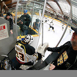 AURORA, ON - Jan 17 : Ontario Junior Hockey League Game Action between the Stouffville Spirit and the Aurora Tigers, Andrew Munroe #33 of the Aurora Tigers Hockey Club takes to the ice for the start of warm-up.<br /> (Photo by Brian Watts / OJHL Images)