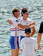 Bled, SLOVENIA. GBR LM2- Final, Bow Peter CHAMBERS and Kieren EMERY, embrace, after winning the gold medal  [Day Five]  at the 2011 FISA World Rowing Championships, Lake Bled. Thursday  01/09/2011  [Mandatory Credit; Peter Spurrier/ Intersport Images]