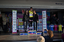Ellen van Dijk (NED) of Team Sunweb retains the yellow jersey as the leader of the Overall Classification after Stage 1b of the Healthy Ageing Tour - a 77.6 km road race, starting and finishing in Grijpskerk on April 5, 2017, in Groeningen, Netherlands.