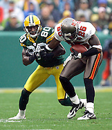 Tampa's Brian Kelly intercepted a Brett Favre pass intended for Donald Driver in the 2nd quarter. .The Green Bay Packers hosted the Tampa Bay Buccaneers at Lambeau Field Sunday September 25, 2005. Steve Apps-State Journal.