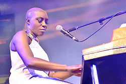 Cheltenham Jazz Festival, Cheltenham, United Kingdom, Laura Mvula performs in the Jazz Arena at Cheltenham Music Festival, Friday 03 May, 2013, Photo by: Rosalind Butt / i-Images