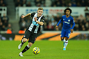 Emil Krafth (#17) of Newcastle United in the ball during the Premier League match between Newcastle United and Chelsea at St. James's Park, Newcastle, England on 18 January 2020.