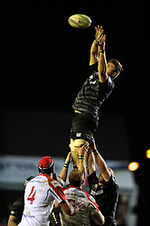 Ed Slater (Leicester) wins lineout ball - Photo mandatory by-line: Patrick Khachfe/JMP - Tel: Mobile: 07966 386802 18/01/2014 - SPORT - RUGBY UNION - Welford Road, Leicester - Leicester Tigers v Ulster Rugby - Heineken Cup.