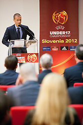 Aleksander Ceferin, president of NZS at Final Round Draw of 11th UEFA European Under-17 Championship 2011/12, on April 4, 2012, in Ljubljana, Slovenia. (Photo by Vid Ponikvar / Sportida.com)