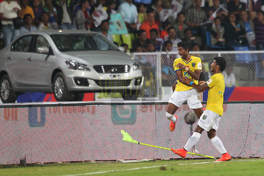 CS Sabeeth of Kerala Blasters FC celebrates scoring for Kerala during match 17 of the Hero Indian Super League between FC Pune City<br /> and Kerala Blasters FC held at the Shree Shiv Chhatrapati Sports Complex Stadium, Pune, India on the 30th October 2014.<br /> <br /> Photo by:  Ron Gaunt/ ISL/ SPORTZPICS
