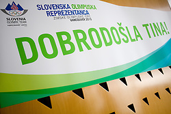 Welcome poster for Slovenian 2-times silver medalist alpine skier Tina Maze at arrival to Airport Joze Pucnik from Vancouver after Winter Olympic games 2010, on February 28, 2010 in Brnik, Slovenia. (Photo by Vid Ponikvar / Sportida)