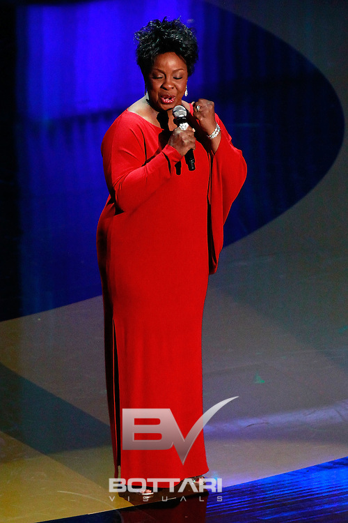Singer Gladys Knight performs onstage during the tribute to Oprah Winfrey during the Daytime Emmy Awards on Sunday June 19, 2011 in Las Vegas. (AP Photo/Jeff Bottari)