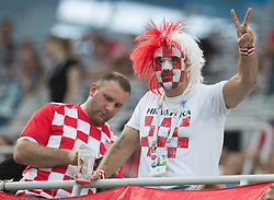 July 1, 2018 - Nizhny Novgorod, Russia - Fans of Croatia during the 2018 FIFA World Cup Russia Round of 16 match between Croatia and Denmark at Nizhny Novgorod Stadium on July 1, 2018 in Nizhny Novgorod, Russia. (Credit Image: © Foto Olimpik/NurPhoto via ZUMA Press)