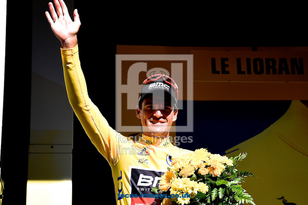 Greg Van Avermaet of Team BMC celebrates in the Yellow Jersey after winning stage 5 of the Tour de France at La Lioran, France.<br /> Picture by Focus Images/Focus Images Ltd 07814 482222<br /> 06/07/2016
