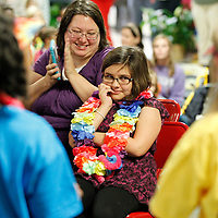 Thomas Wells   BUY AT PHOTOS.DJOURNAL.COM<br /> Laila Mendez, 10, looks shocked as students from Joyner Elementary School announce to her that her wish, a trip to Hawaii, was granted by the Make-A-Wish foundation following a long battle with leukmia.