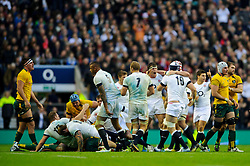 England players celebrate as they win a penalty to seal victory in the match - Photo mandatory by-line: Rogan Thomson/JMP - Tel: Mobile: 07966 386802 02/11/2013 - SPORT - RUGBY UNION -  Twickenham Stadium, London - England v Australia - Cook Cup - QBE Autumn Internationals.