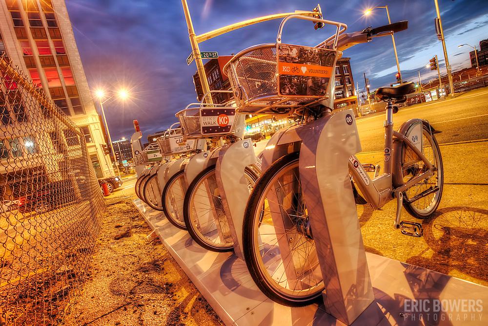 Bike Share station at 20th and Grand, Kansas City, Missouri.