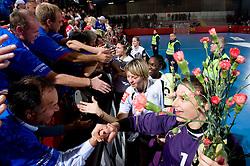 Marina Vergeljuk, Goalkeeper of Krim Jelena Grubisic at handball match of Round 2 of Champions League between RK Krim Mercator and Aalborg DH, on October 31, 2009, in Arena Kodeljevo, Ljubljana, Slovenia.  Krim won 30:23. (Photo by Vid Ponikvar / Sportida)