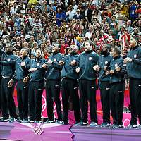 12 August 2012: Team USA stands on the podium following the 107-100 Team USA victory over Team Spain, during the men's Gold Medal Game, at the North Greenwich Arena, in London, Great Britain.