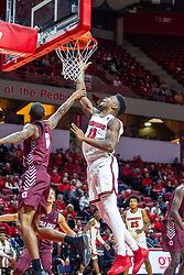 NORMAL, IL - November 10:Rey Idowu gets a shot on the rim over Ben Coupet Jr. during a college basketball game between the ISU Redbirds and the Little Rock Trojans on November 10 2019 at Redbird Arena in Normal, IL. (Photo by Alan Look)