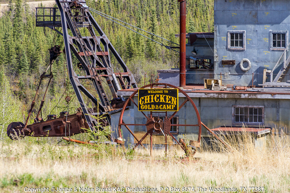 Abandoned Gold Dredge at Chicken, Alaska. Once used in mining, this type of mining has been replaced by newer more efficient and environmently friendly methods.