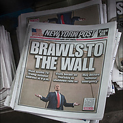 New York Pos cover headlines about  President Trump latest tweets<br /> New York Post Headlines &quot; Brawls to the Wall&quot; Must see the TV:Trump national address at 9 p.m.&quot; Visits border on Thursday as shtdown rolls on&quot; &quot; May decalare 'national emergency&quot;