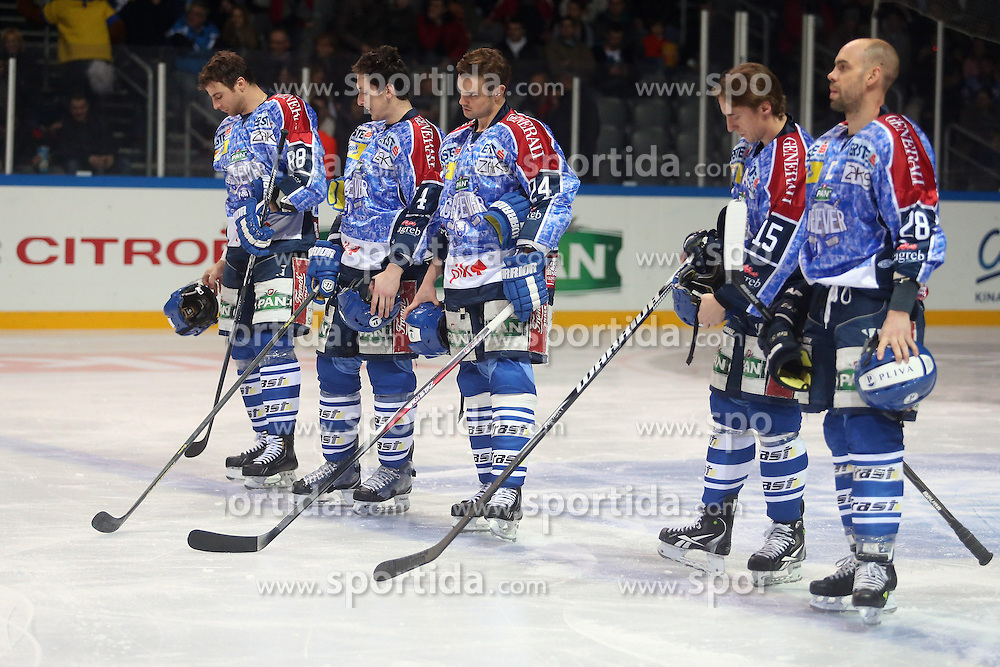 25.01.2013, Arena Zagreb, Zagreb, CRO, EBEL, KHL Medvescak Zagreb vs EC KAC, Platzierungsrunde, im Bild Dario Kostovic #88, David Brine #4, Curtis Fraser #24, Andy Sertich #15, Alan Letang #28 // during the Erste Bank Icehockey League placement Round match between KHL Medvescak Zagreb and EC KAC at the Arena Zagreb, Zagreb, Croatia on 2013/01/25. EXPA Pictures © 2013, PhotoCredit: EXPA/ Pixsell/ Dalibor Urukalovic..***** ATTENTION - for AUT, SLO, SUI, ITA, FRA only *****