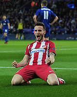 Football - 2016 / 2017 UEFA Champions League - Quarter-Final, Second Leg: Leicester City vs. Atletico Madrid<br /> <br /> Saul Niguez of Atletico Madrid celebrates scoring his first half goal at the King Power Stadium.<br /> <br /> COLORSPO RT/ANDREW COWIE