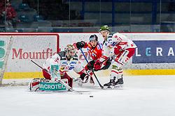 13.01.2019, Ice Rink, Znojmo, CZE, EBEL, HC Orli Znojmo vs HCB Suedtirol Alperia, 38. Runde, im Bild v.l. Leland Irving (HCB Sudtirol Alperia) Radim Matus (HC Orli Znojmo) Timothy Campbell (HCB Sudtirol Alperia) // during the Erste Bank Eishockey League 38th round match between HC Orli Znojmo and HCB Suedtirol Alperia at the Ice Rink in Znojmo, Czechia on 2019/01/13. EXPA Pictures © 2019, PhotoCredit: EXPA/ Rostislav Pfeffer