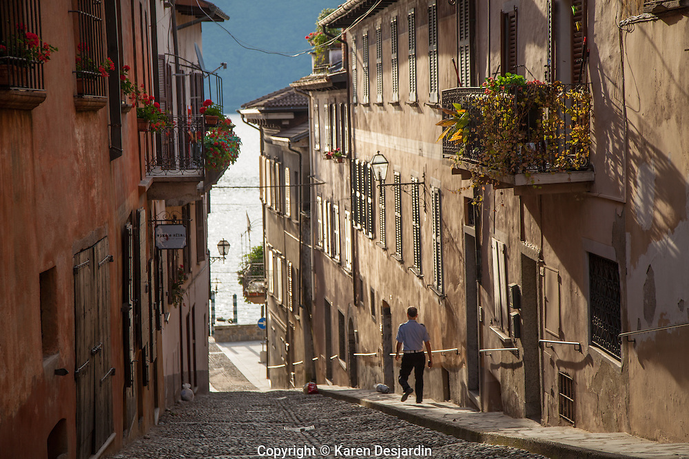 A street scene in the village of Cannobio in northern Italy, on the shores of Lake Maggiore.