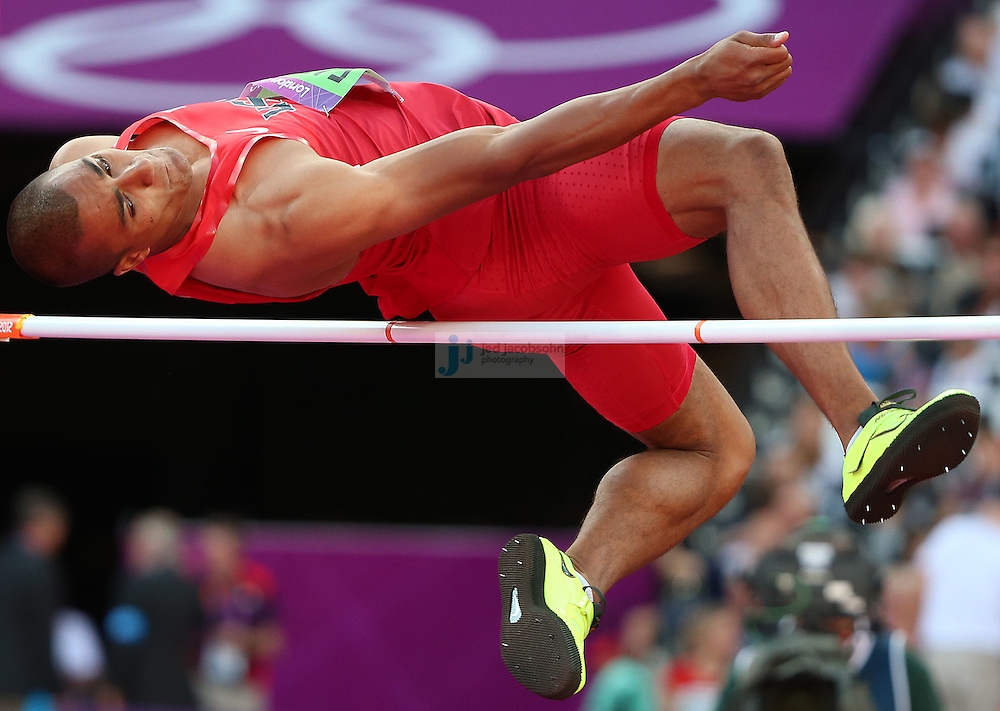 Ashton Eaton of the USA jumps during the high jump portion of the decathlon during track and field at the Olympic Stadium during day 12 of the London Olympic Games in London, England, United Kingdom on August 8, 2012..(Jed Jacobsohn/for The New York Times)..