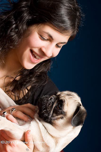 Woman with her pug