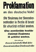 Proclamation by Adolf Hitler and other leaders of the October 1923 Munich beer Hall rising (putsch).