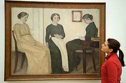 Three Young Women by Vilhelm Hammershoi at Statens Museum for Kunst or Royal Museum of Fine Arts in Copenhagen Denmark