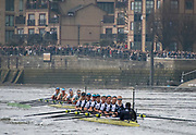 Greater London. United Kingdom, Cambride Women's  University Boat Club, move out front to take commanding position in the, 2018 Boat Race Cambridge University vs Oxford  University Putney to Mortlake,  Championship Course, River Thames, London. <br />