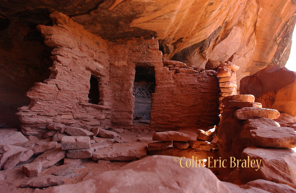 The remains of an ancient dwelling known as the Castle ruins is protected by a cliff overhang in southern Utah. Colin Braley/Wild West Stock