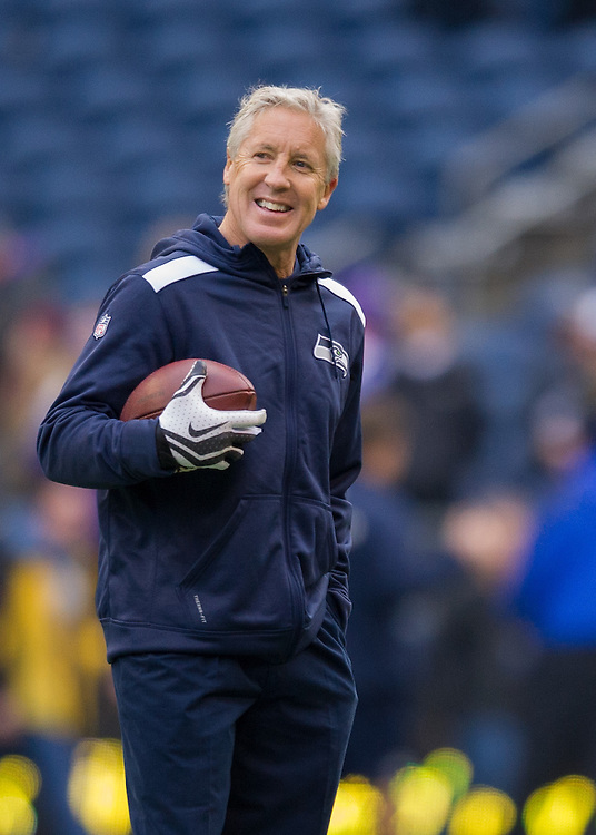 Seattle Seahwks head coach, Pete Carroll at Centurylink Field during a pre-game practice. Photo by John Lill.