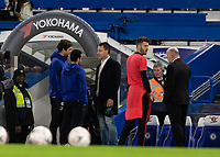 Football - 2018 / 2019 Emirates FA Cup - Fifth Round: Chelsea vs. Manchester United <br /> <br /> Former Chelsea Player and Captain John Terry chats with Pedro (Chelsea FC) and Marcos Alonso (Chelsea FC) ahead of the match kick off at Stamford Bridge<br /> <br /> COLORSPORT/DANIEL BEARHAM