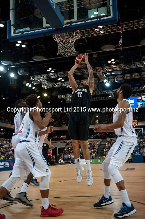 25.07.2015. London England. Basketball test match. Great Britain versus New Zealand.  Tall Blacks Forward Isaac Fotu [#12] in action under the basket.