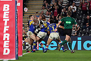 Hull FC winger Fetuli Talanoa (5) scores a try 18-18 during the Betfred Super League match between Hull FC and Leeds Rhinos at Kingston Communications Stadium, Hull, United Kingdom on 19 April 2018. Picture by Mick Atkins.