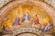 Mosaics above the entrance to Basilica San Marco (Saint Mark's Cathedral), Venice, Veneto, Italy