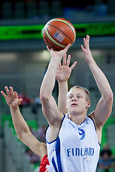 Sasu Salin #9 of Finland during basketball match between National teams of Finland and Croatia in 2nd Round at Day 9 of Eurobasket 2013 on September 12, 2013 in SRC Stozice, Ljubljana, Slovenia. (Photo By Urban Urbanc / Sportida)