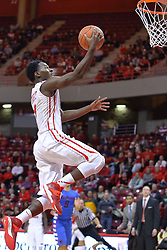 22 December 2013:  Daishon Knight lays it up during an NCAA  mens basketball game between the Blue Demons of DePaul falling to  the Illinois State Redbirds 69-64 in Redbird Arena, Normal IL