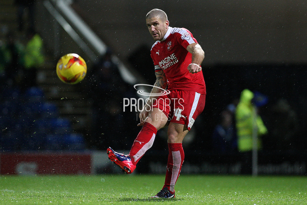 Swindon Town defender Adam El-Abd clears the ball during the Sky Bet League 1 match between Chesterfield and Swindon Town at the Proact stadium, Chesterfield, England on 28 November 2015. Photo by Aaron Lupton.
