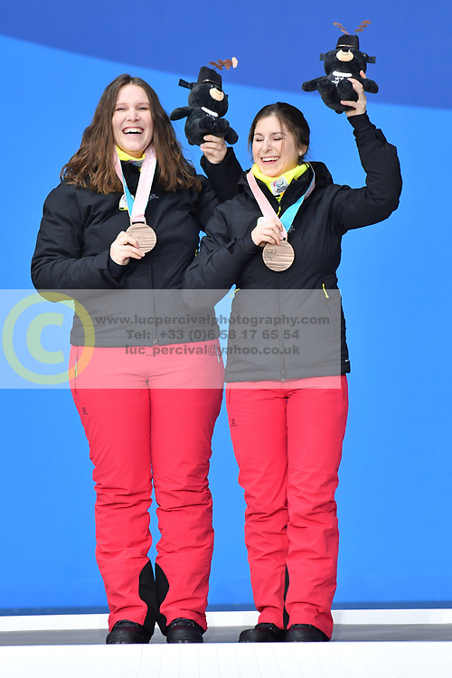 SANA Eleonor B2 BEL Guide: SANA Chloe, ParaSkiAlpin, Para Alpine Skiing, Podium at PyeongChang2018 Winter Paralympic Games, South Korea.