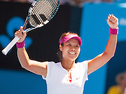 Li Na of China faced 19 year old Eugenie Bouchard of Canada in the Women's Semifinals at the 2014 Australian Open. It was the first time that a Canadian woman had progressed to the semifinals of the Open. Li Na- Bouchard's senior by 12 years - won the match over Bouchard 6-2, 6-4.