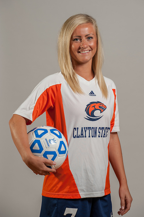 Aug 13, 2013; Morrow, GA, USA; Clayton State University's women's soccer players during portrait day. Photo by Kevin Liles/kdlphoto.com