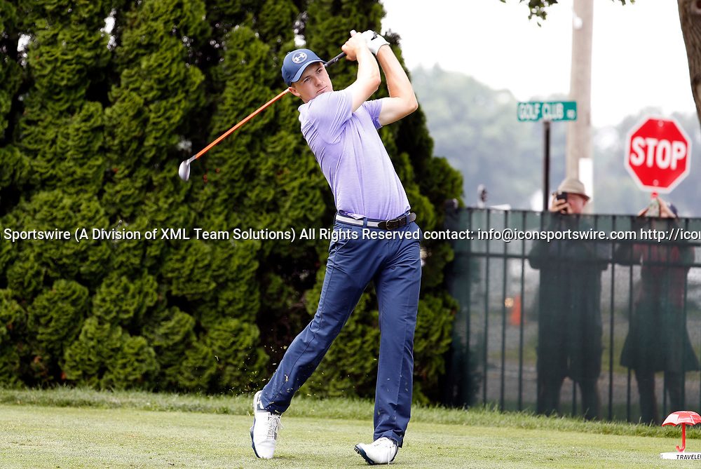 CROMWELL, CT - JUNE 23: Jordan Spieth drives from the 9th tee during the second round of the Travelers Championship on June 23, 2017, at TPC River Highlands in Cromwell, Connecticut. (Photo by Fred Kfoury III/Icon Sportswire)