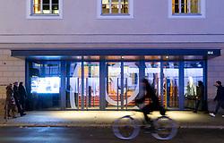 Night view of exterior of Pierre Boulez Saal concert hall in Mitte Berlin, Germany
